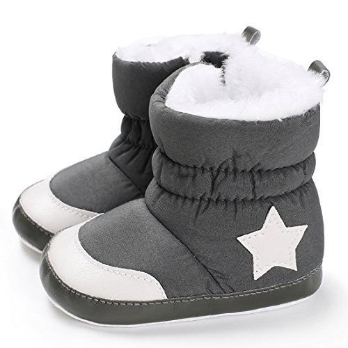 Baby Premium Soft Sole Star Anti-Slip Mid Calf Warm Winter Infant Boots Toddler Indoor Baby Boots (13cm/5.12