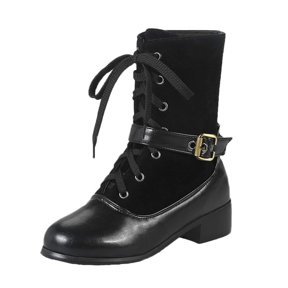 ZARLLE_Botas Botas Planas Mujer Invierno,ZARLLE Zapatos Mujer Invierno 2019 Hebilla de Ocio para Mujer Zapatos Planos Planos de tacón Grueso Color sólido ...