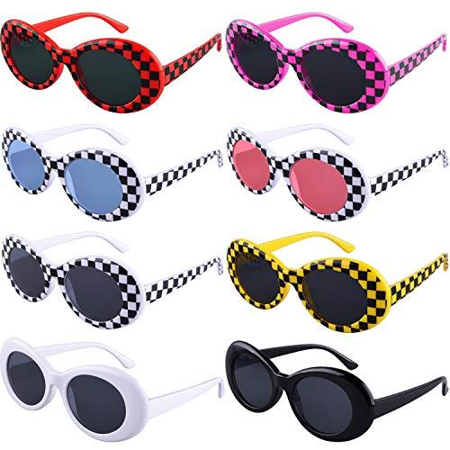 (SIQUK 8 Pairs Clout Goggles Oval Sunglasses 8 Colors Thick Frame Round Lens Sunglasses Retro Kurt Mod Goggles for Girls Boys(Bonus: 1 Pc Eyeglasses Cloth))