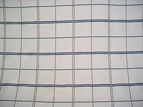 - 158RT5 - Sapphire / Grey / Grey White Embroidered Plaid Check To the Trade Designer Linen Upholstery Drapery Fabric - By the Yard