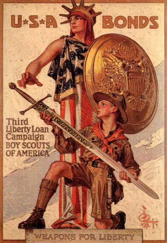 USA LIBERTY BONDS BOY SCOUTS OF AMERICA WEAPONS FOR LIBERTY KNIGHT SWORD VINTAGE POSTER REPRO