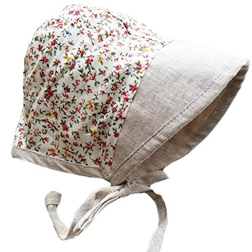 Baby Bonnet Country Vintage Hat with Visor Reversible Dual Side Linen & Cotton Floral #EvyBonnet Collection Bonnets ... (Ashes & Petals, 9-12)