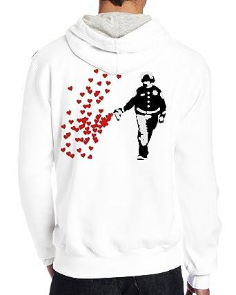 87aced2ca Image Unavailable. Men Custom Pullover Hoodie Stencil Police Street Art  Pepper Spray Cop Heart Hooded Sweatshirt