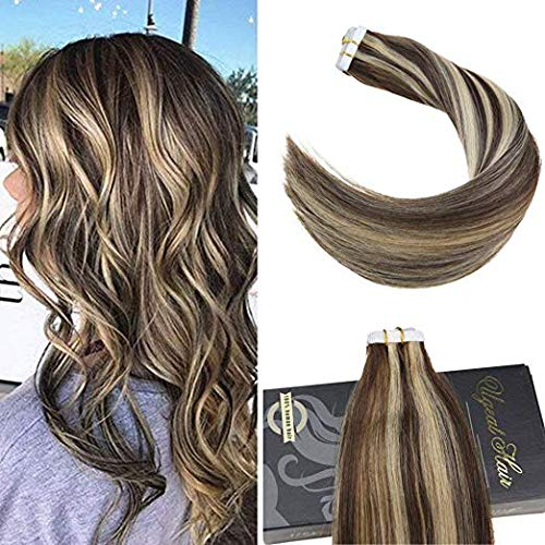 Ugeat 20 inch Tape in Highlight Color Hair Extensions Brown with Platinum Blonde Real Hair Extensions Skin Weft Human Hair Tape in Remy Human Hair 20pcs/50g ...