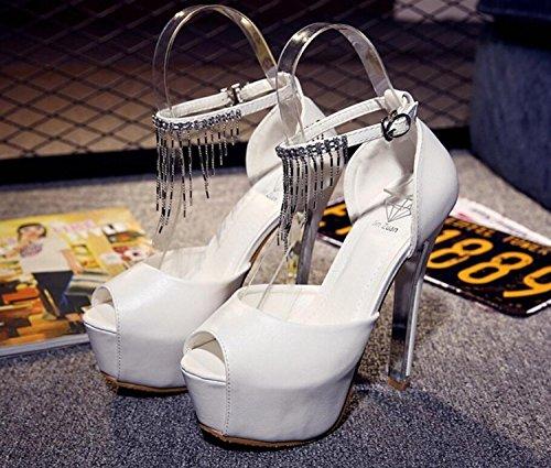 Strass Haut D'Été Talon DANDANJIE Noir Talon Sexy Pantoufles Super Slender Blanc Blanc Chaussures Gland Femmes Sandales Mince Doux wOXBnB0Sx
