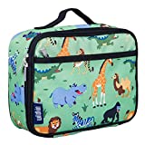 Wildkin Lunch Box, Insulated, Moisture Resistant, and Easy to Clean with Extras for Quick and Simple Organization, Ages 3+, Perfect for Kids or On-The-Go Parents, Olive Kids Design – Wild Animals