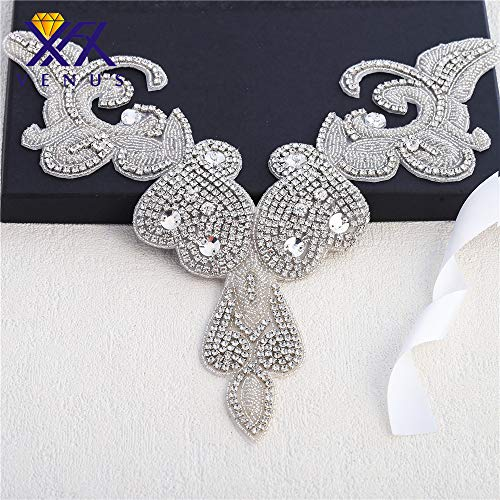- Crystal Rhinestone Applique Sweetheart V Neckline for Bridal Wedding Dress Gown Party Prom Evening Clothes Pearls Beaded Decorations Handcrafted Sparkle Elegant Sewn or Hot Fix - Silver