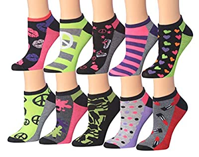 Tipi Toe Women's 10 Or 12-Pairs Colorful Patterned Low Cut/No Show Socks