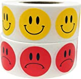 Smiley Face Frowny Face Stickers Yellow Happy Red Sad Labels For Teachers 3/4 Inch Round Circle Dots 500 Stickers Per Design 1,000 Adhesive Stickers