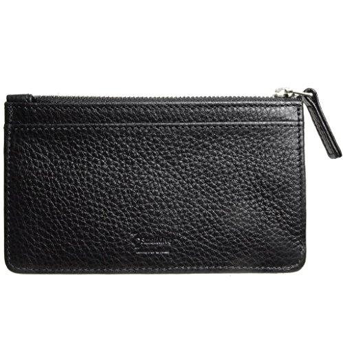 Card Wallet Black 6 Calf Zip Grained Black Leather CC 4x1PwqT