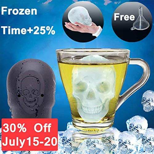 3D Skull Flexible Silicone Ice Cube Mold Tray Make 3