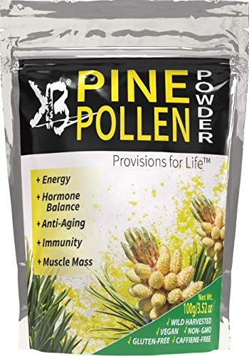 KBA - Wild Harvested Pine Pollen Powder Supplement Cracked Cell Wall - Raw Vegan Non-GMO - for Smoothie Beverage Blend (100 Grams -