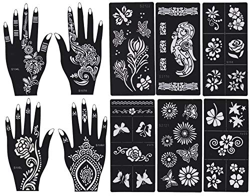 DevilFace 10 Sheets Stencils for Henna Tattoos Self-Adhesive Beautiful Body Art Temporary Tattoo Templates, Henna, Flower, Butterfly Designs