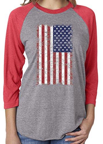 SoRock Unisex USA American Distressed Flag 3/4 Sleeve Tri Blend Tshirt Red