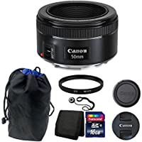 Canon EF 50mm f/1.8 STM Lens with Pouch + 16GB Top Accessories For Canon Digital SLR Cameras