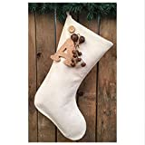 Jubilee Creative Studio 18'' Natural White Cotton Christmas Stocking with Personalized Letter Charm & Rusty Bells Ornament