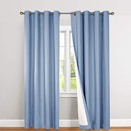 jinchan Bedroom Thermal Blackout Curtains Blue Energy Saving Lined Drapes  for Living Room Bedroom 84 Inch Length Grommet Top Window Curtain Sold ...
