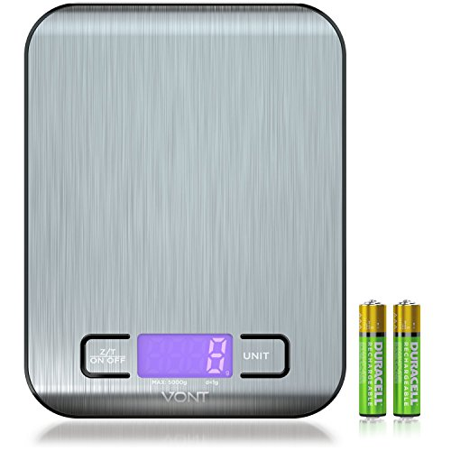 Scale Counter (Digital Kitchen Scale, Food Scale, Gorgeous Slim Compact Design, Multifunctional, Easy to Clean Stainless Steel, Batteries Included)