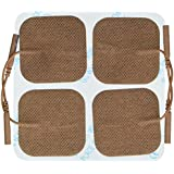 "Santamedical 8 2"" X 2"" Re-Usable Tan Carbon Electrode Pads with Premium Gel - Satisfaction Guaranteed"