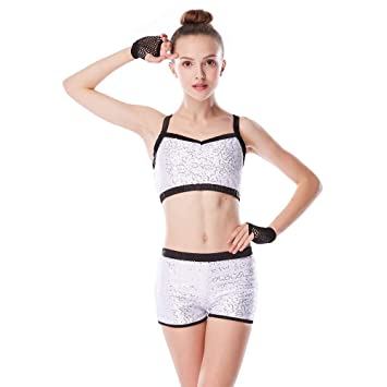 4464970fa MiDee Sequins Costume Crop Tops   Shorts Hip Hop Pole Dance Outfits ...