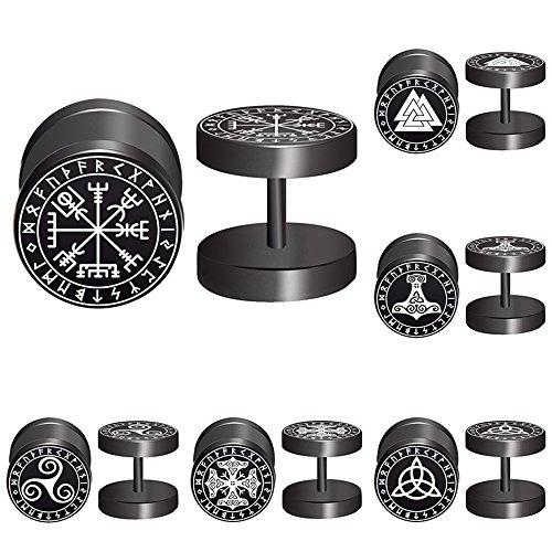 - FLYUN Viking Runes Black Stud Earrings Men Women Faux Gauges Fake Ear Tunnel Stainless Steel Earrings 6 Pairs