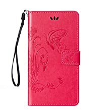 SZYT Phone Case for Motorola Moto G3 / Moto G 3rd Generation Imprint Butterfly with Handle Strap Pink