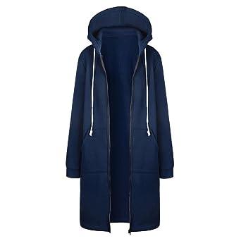 TUDUZ Damen Winter Mantel Warm Reißverschluss Öffnen Hoodies Einfarbig Beiläufig Lange Ärmel Sweatshirt Lange Mantel Tops Out
