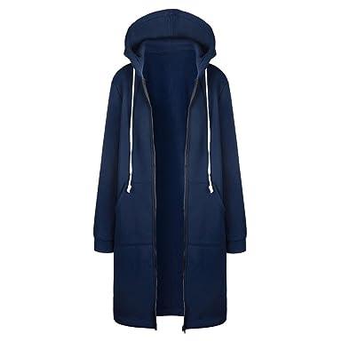 32948cfac272 TUDUZ Damen Winter Mantel Warm Reißverschluss Öffnen Hoodies Einfarbig  Beiläufig Lange Ärmel Sweatshirt Lange Mantel Tops