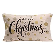 JS cotton linen rectangle throw pillow case docorative cushion cover designed with Merry Christmas gold glittering lettering custom pillow case print one side size 12x20 Inch