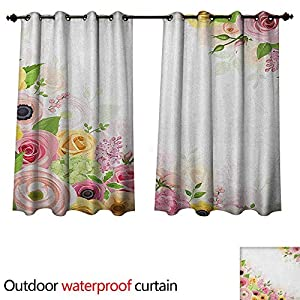 Anemone Flower Outdoor Ultraviolet Protective Curtains Roses Ranunculus and Hydrangea Flowers and Green Leaves Frame 104