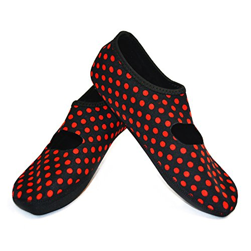 Nufoot Mary Janes Womens Shoes, Best Foldable & Flexible Flats, Travel & Exercise Shoes, Dance Shoes, Yoga Socks, Indoor Shoes, Slippers Black/Red Dot