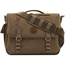 Mosiso Canvas Messenger Bag (up to 15.6 Inch) with Handle and Various Pockets for Laptop, Notebook, MacBook, Ultrabook and Chromebook Computers, Vintage Brown