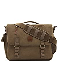 Mosiso Canvas Messenger Satchel Bag (up to 15.6 Inch), Crossbody Sling Shoulder Case with Handle and Various Pockets for Laptop, Notebook, MacBook, Ultrabook and Chromebook Computers, Vintage Brown