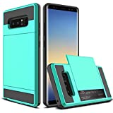 """Galaxy Note 8 Case, Galaxy Note 8 Wallet Card Case, Venoro Hybrid Dual Layer Shockproof Hard Shell with Slide Card Slot Case Cover for Samsung Galaxy Note 8 6.3"""" 2017 Release (Mint)"""