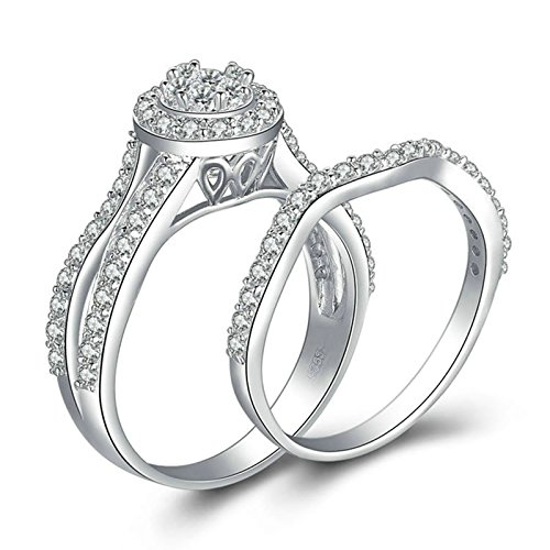 Gentlemans Titanium Diamond Set - Daesar Wedding Rings Diamond Halo Ring Round White Cubic Zirconia Ring Set Ring Size 10