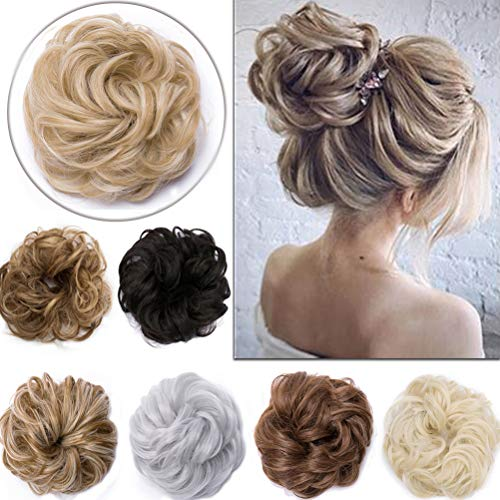 Messy Updo Hair Bun Synthetic Hair Chignon Wavy Donut Bride Scrunchy Hairpieces 2 Pieces 45g/pcs Natural Blonde-Thicker