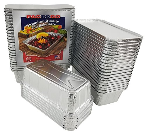 Pactogo 2 lb. Aluminum Foil Loaf/Bread Pan Tins w/Foil Board Lid (Pack of 500 Sets)