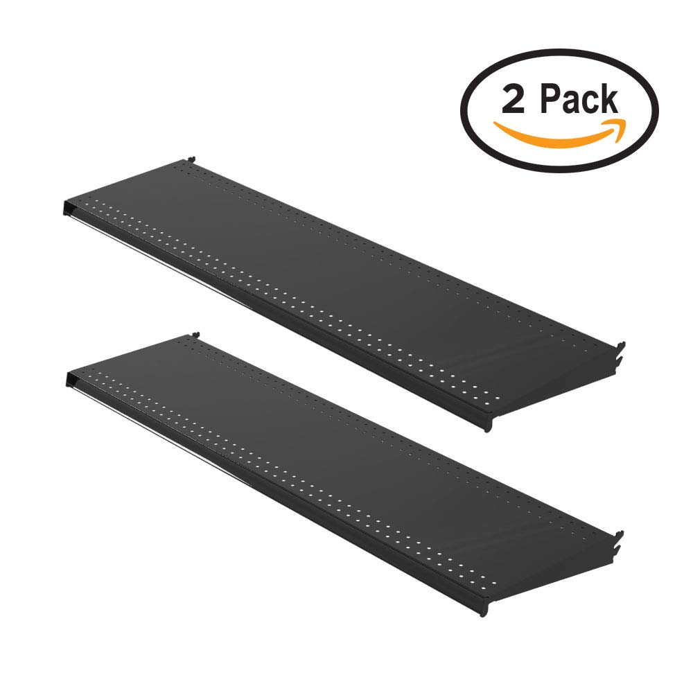 Lozier Gondola Shelving, Standard Upper Shelf, 48'' Wide x 13'' Deep, Black (2 Pack)
