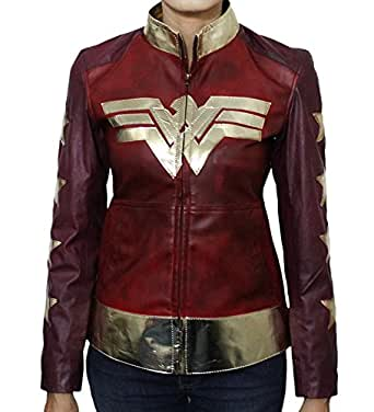 Marche- Wonder Woman Diana Prince Ladies Waxed Synthetic Leather Jacket Maroon- All Sizes (XS)