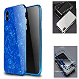 iPhone X Magnetic Absorption Shcokproof Case,Aulzaju iPhone X Full Body Front Back Cover with Tempered Glass Screen Protector Cover for iPhone X/10 Beauty Mirror Shell Design-Blue