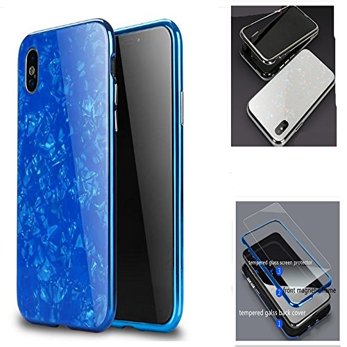 iPhone X Magnetic Absorption Shcokproof Case,Aulzaju iPhone X Full Body Front Back Cover with Tempered Glass Screen Protector Cover for iPhone X/10 Beauty Mirror Shell Design-Blue by Aulzaju