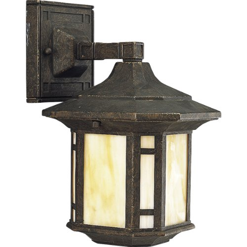 Progress Lighting P5628-46 1-Light Wall Lantern with Honey Art Glass and Mica Accent Panels, Weathered Bronze