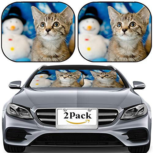 MSD Car Sun Shade for Windshield Universal Fit 2 Pack Sunshade, Block Sun Glare, UV and Heat, Protect Car Interior, Image ID: 26783402 Tabby Kitten on Snowflake Background Looking up with snowm