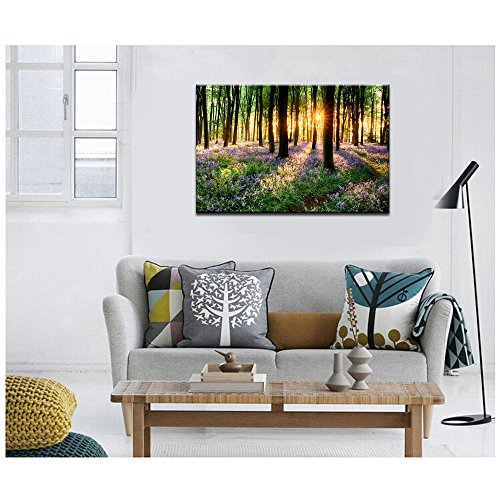 Lavender Canvas Wall Art with Wood Frame Forest in Sunshine Canvas Print Wall Decor Wall Canvas Landscapes Home Decoration Ready to Hang by Sea Charm (Image #4)