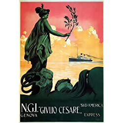 "TX229 Vintage Italy Italian Givlio Cesare Genova Shipping Cruise Travel Poster Re-Print - A3 (432 x 305mm) 16.5"" x 11.7"""
