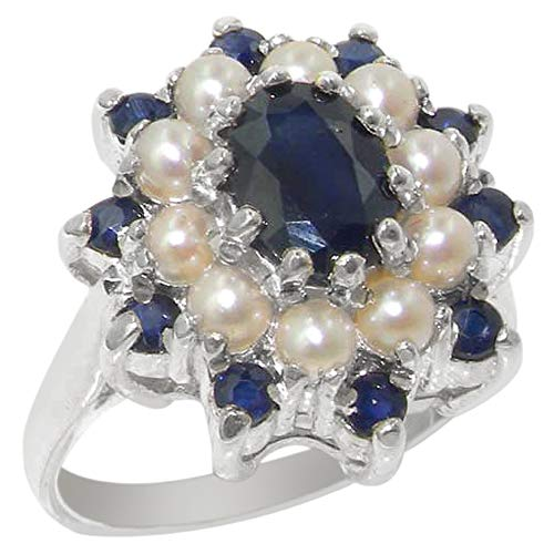 925 Sterling Silver Real Genuine Sapphire and Cultured Pearl Womens Cluster Ring - Size 11