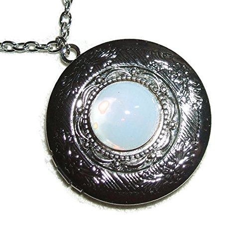 WHITE OPAL LOCKET NECKLACE Silver Pltd Pendant CZECH GLASS Opalized Stone