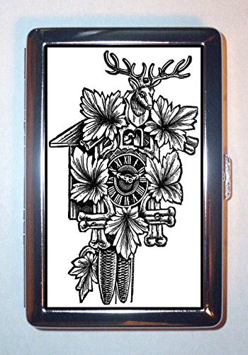 1920s Black Forest Cuckoo Clock Deer Head Art ID Wallet or Cigarette Case USA Made