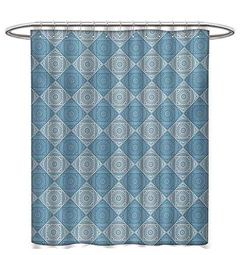 Geometric Shower Curtains Sets Bathroom Ethnic Egyptian Motif with Symmetric Forms Arabesque Ancient Artwork Bathroom Accessories W60 x L72 Teal and Pale Yellow (Egyptian Motif)