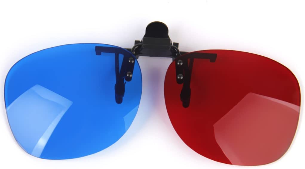 Gazechimp 1 Pair Clip-On Red//Blue 3D Glasses Eyeglasses Clip Style,Eye Lens 0.7mm for 3D Viewing Home Movies